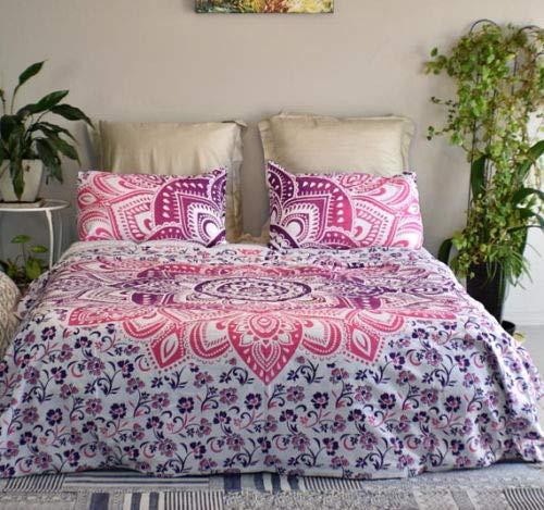 GOPLAI CRAFT Bettwäsche-Set mit Mandala-Mandala-Motiv, für Einzel- / Doppelbetten, Rosa Art Deco Full Rose