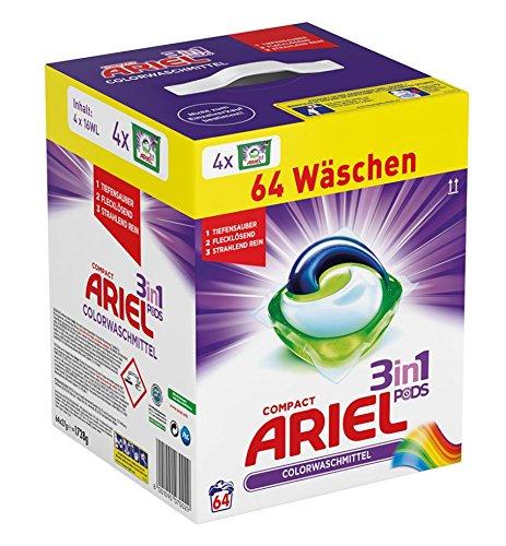 Ariel 3 in 1 Pods Colorwaschmittel, 1er Pack (1 x 64 Waschladungen)