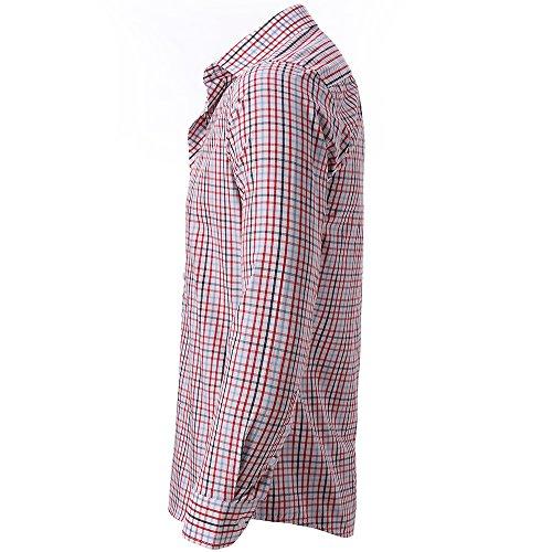 Harrms Camicia a Quadri da Uomo, Slim Fit, Adatta a Occasioni Formali/Casuali, Multicolore Rosso & Nero
