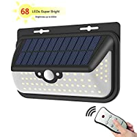 Solar Lights Motion Sensor Security Outdoor Lighting Solar Powered 68 Units LED Cordless Lamp 3 Mode, Waterproof & Auto On/Off Between Day and Night for Patio, Deck, Yard, Garden, Home, Driving Way with Remote Control, 800 Lumen Super Bright by FUNANASUN