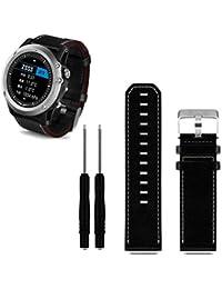 Malloom Garmin Correa de cuero de lujo de reemplazo banda de reloj con las herramientas para Garmin Fenix 3 (negro)