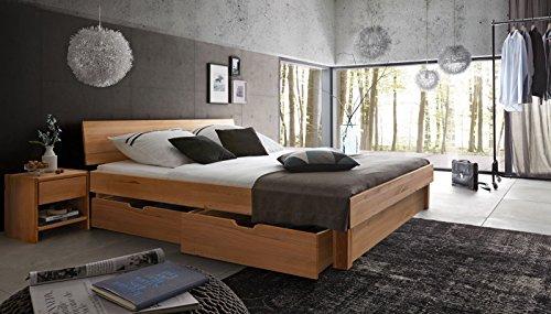 SAM® Massiv-Holzbett mit Bettkästen in Kernbuche natur, geschlossenes Kopfteil, 100% FSC® zertifizierte Kernbuche, natürliche Maserung, massive widerstandsfähige Oberfläche, 140 x 200 cm [521817]
