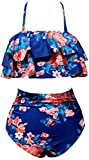 OLIPHEE Damen Bikini Set Hohe Taille Bademode Bauchweg Tankini Vintage Neckholder Push up Schwimmanzug Blau Blumen M