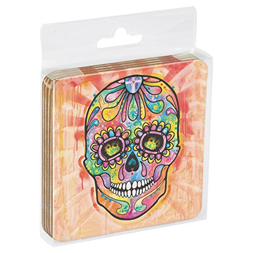 """Tree Free Grußkarten 96214 9,5 x 9,5 cm, """"Spektrale Sugar Skull-Motiv: Dean Russo, Untersetzer mit Kork-Rückseite, 4er-Set"""