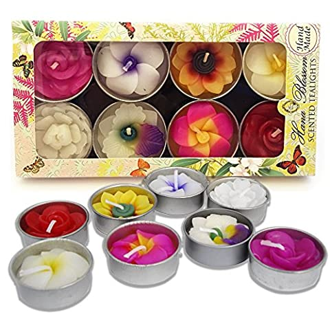 Hana Blossom Handmade Fairtrade Scented Flower Tealight Candles in Assorted Designs and Colours Gift Set, Set of 8