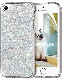 Coque iPhone SE,Coque iPhone 5S,Coque iPhone 5 [avec Film de Protection écran HD],OKZone® Mince Étui en silicone souple Paillette Strass Brillante Bling Bling Glitter de Luxe,Flexible Plein-Corps TPU Résistant à la Goutte Bumper Housse Etui de Protection [Ultra Fin] [Anti Choc] pour Apple iPhone 5/iPhone 5S/iPhone SE (Argent)