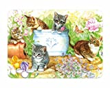 Small Premium Glass Chopping Board - Cats In Garden Kitchen Worktop Saver Protector by Tuftop Ultimate Kitchen Boards