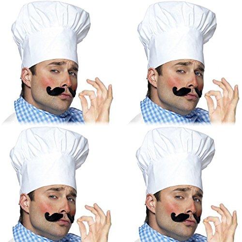 German Trendseller® - 4 x Kochmütze Weiß Deluxe ┃ Le Chef ┃ Chefmütze