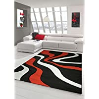 Traum Designer living room rug Contemporary rug Rug low pile carpet contour cutting wave pattern Black Red White size 80x150 cm