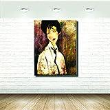 Stampa su Tela Canvas - Formato 50X65 Solo Tela - Stampa in qualita fotografica - Quadri donna - DONNA CRAVATTA MODIGLIANI