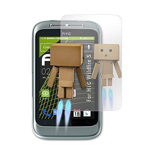 atFolix Displayfolie kompatibel mit HTC Wildfire S Spiegelfolie, Spiegeleffekt FX Schutzfolie (Wildfire Htc S)