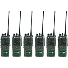 MOTOROLA GP640 (GP340) UHF 4 VATIOS DOS SALIDAS WALKIE-TALKIE RADIOS & AURICULARES x 6