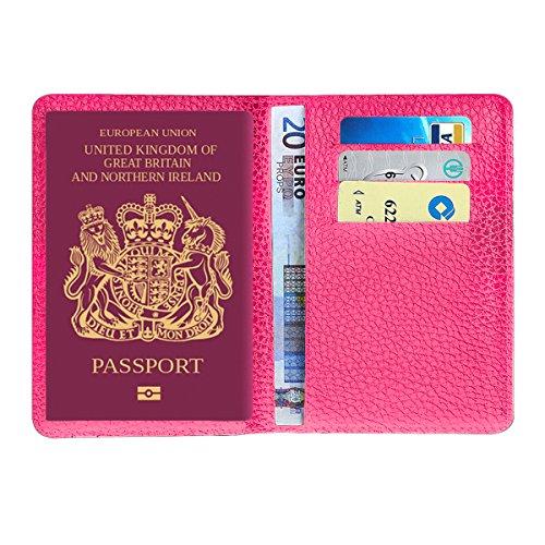 Mpteck @ rosa custodia passaporto da viaggio porta passaporto organizer in pelle sintetica pvc per documenti da viaggio uomo e donna elegante con 3 aperture per carta di credito e d'identitá
