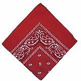 BOOLAVARD Algodón Paisley Bandana Doble echó a un lado la Cabeza Bufanda Envolver (Rojo)