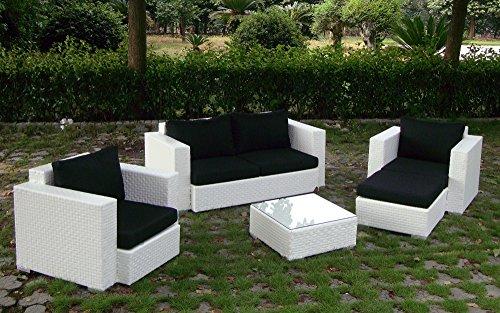 Baidani Gartenmöbel-Sets 10c00042.00002 Designer Rattan Lounge-Garnitur Calypso, 1 2-er-Sofa, 2 Sessel, 1 Hocker, 1 Couch-Tisch mit Glasplatte, braun - 6