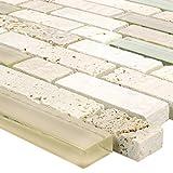 Mosaikfliesen Milos Glas Naturstein Mix Beige Verbund | Wand-Mosaik | Mosaik-Fliesen | Naturstein-Mosaik | Fliesen-Bordüre | Ideal für den Wohnbereich und fürs Badezimmer (auch als Muster erhältlich)