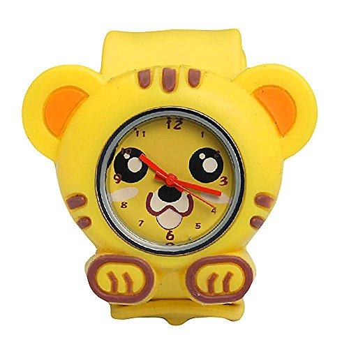 MMRM niños reloj de pulsera de silicona Animal lindo del dibujo animado reloj de cuarzo de Navidad regalo(Tiger)