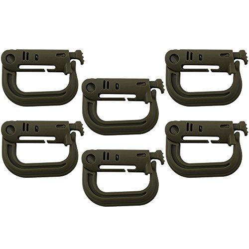 COM-FOUR® 6 mousquetons Grimloc extérieurs en forme de D en plastique à haute résistance, pince de sécurité à encliquetage tactique pour sacs à dos, gilets, etc. en vert olive (06 pièces - vert olive)