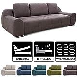 Cavadore Big Sofa Benderes / Schlafsofa mit Bettfunktion und Bettkasten / Moderne Couch mit Steppung und Ziernaht / Inkl. 3 Kissen / Chromfüße / 266 x 70 x 102 (BxHxT) /  Grau