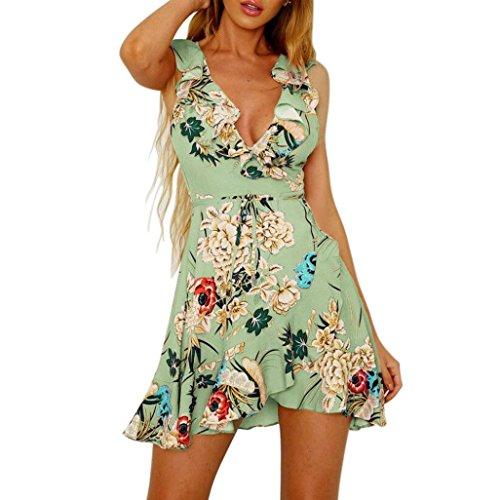 2e7ab21ad171 Yanhoo- Vestiti Donna Estivi Eleganti Abito Abiti Sera, Moda Donna  Spaghetti Strap Floreale Stampa Spiaggia Stile Skater Una Linea Mini Dress  (S, Verde)