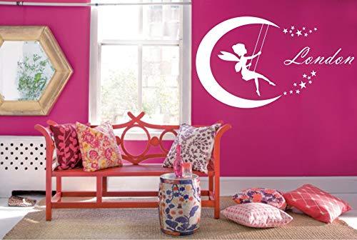 jiuyaomai Fairy Moon Personalisierte Name Wandtattoo Dekoration Zubehör Schöne Baby Mädchen Schlafzimmer Anwendbar Nymphe Kunst Geschenke 57x100 cm
