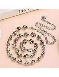 YYH Diamantes de imitación de MS jeans cadena metal de la correa . gold