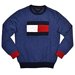 Tommy Hilfiger Mens Graphic Flag Logo Sweater - Blue -