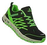 Bootsland Neon Herren Turnschuhe Sneaker Sportschuhe Freizeitschuhe 035, Schuhgröße:42, Farbe:Schwarz/Grün