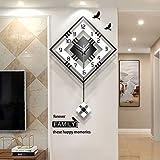 Nuanxin Elegante orologio da parete al quarzo con elegante orologio da parete minimalista, creativo orologio da parete decorativo a pendolo, squisita stratificazione.Facile da pulire, senza dissolvenz