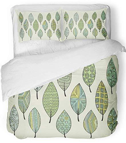 3 Stück Bettbezug-Set atmungsaktiv gebürstet Mikrofaser Stoff Bunte Zusammenfassung der Blätter Doodle-Stil-Komponenten für grünen Herbst schöne Bettwäsche Set mit 2 Kissenbezüge King Size