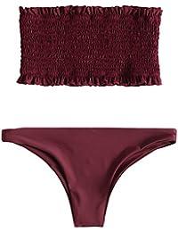 c17f7816c666ff ZAFUL Damen Sexy Gerafftes Rüschen Bandeau Bikini Set Einfarbiger Badeanzug  Bademode