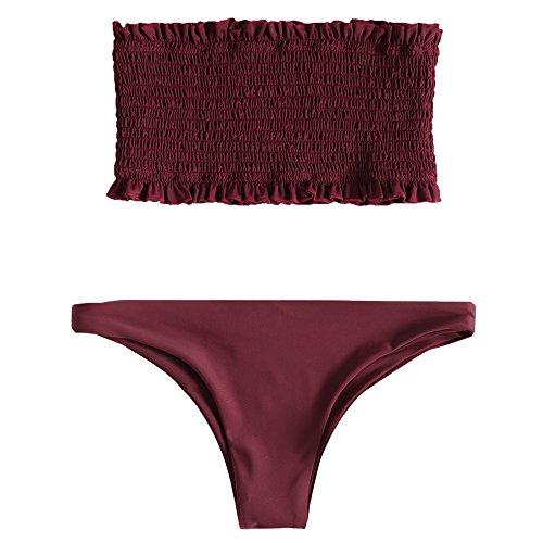 ZAFUL Damen Sexy Gerafftes Rüschen Bandeau Bikini Set Einfarbiger Badeanzug Bademode Weinrot S