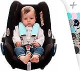 Gurtpolster Set - universal für Babyschale, Buggy, Kinderwagen, Autositz (z.B. Maxi Cosi City SPS, Cabrio, Cybex Aton usw.) Janabebe (Mint Sparkles)