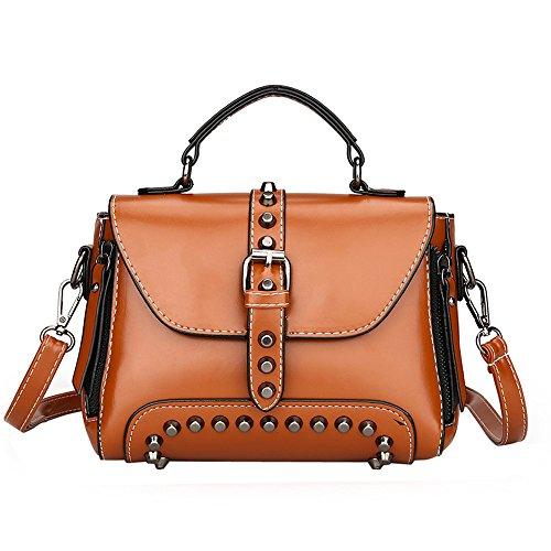 Lazzboy Bag Handtasche Retro Damen Nieten Leder Schultertaschen mit Crossbody (Braun) -