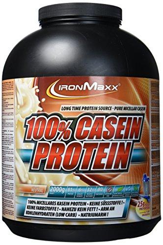 IronMaxx 100% Casein Protein, Neutral – Caseinpulver für den Muskelerhalt mit Langzeiteffekt – Muskelaufbau Pulver für die Definitionsphase – 1 x 2 kg Pulver