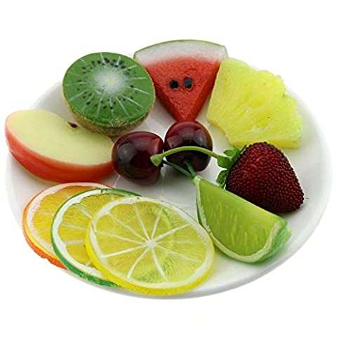 Gresorth Premium Artificial Fruit Slice Fake Lemon Apple Kiwi Watermelon Strawberry Cherries Home