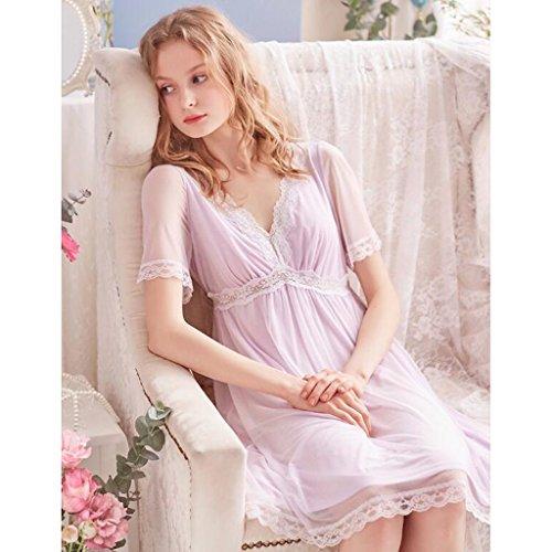Pyjamas Schlafrock Sommer Damen Sexy Retro Kurzarm V-Ausschnitt Spitze Prinzessin Kleid GAOLILI (Farbe : Helles Lila, größe : L)