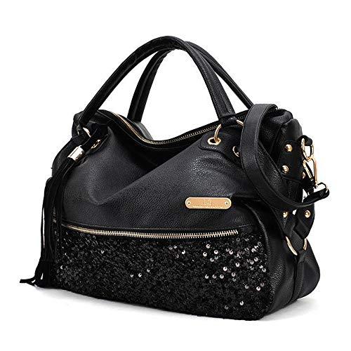 Segater borsa a tracolla con stampa leopardata da donna borsa nera borsetta borse a spalla borse a mano stile hobo borse tote in pelle pu con paillettes