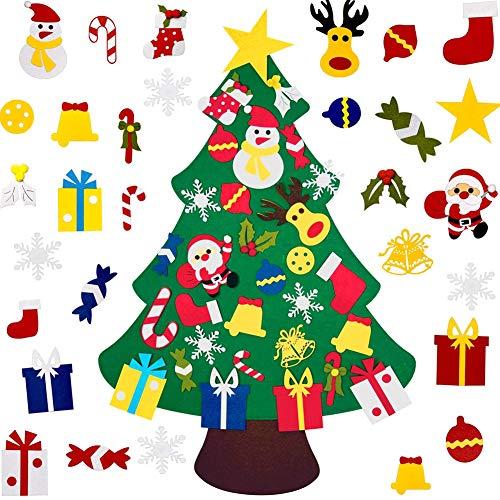 Tenflyer Albero di Natale in Feltro Fai-da-Te, Decorazione Regalo da Appendere a Parete per Bambini... (30PCS Ornaments)