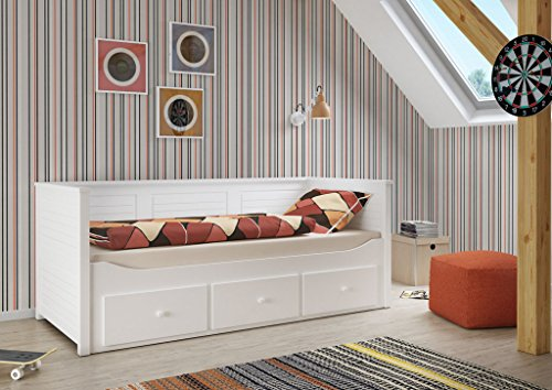 Kinderbett / Jugendbett Nouri 1 inkl. Schubladen weiß lackiert - Liegefläche 90 x 200 cm
