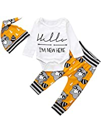☀☀Sombreros Y Gorras para Bebés Niño,3pcs Niños del Bebé Niños Niñas Ropa De Dibujos Animados Romper + Pantalones + Conjuntos De Sombreros del Sombrero