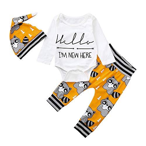 Babykleidung Satz, LANSKIRT 3 Stück Kleinkind Baby Jungen Mädchen Outfits Set Cartoon Kleidung Spielanzug + Hosen + Hut 0-24 Monate
