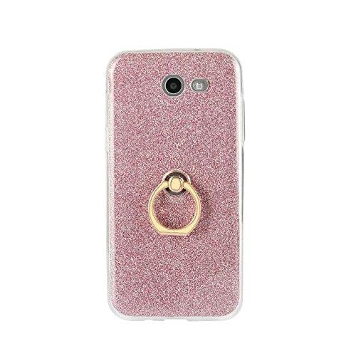 Luxus Bling Sparkle Style Case, Soft TPU [Silikon] Flexible Glitter Rückentasche mit Fingerring Stand [Anti Scratch] [Shockproof] für Samsung Galaxy J3 2017 (J320) ( Color : White ) Pink