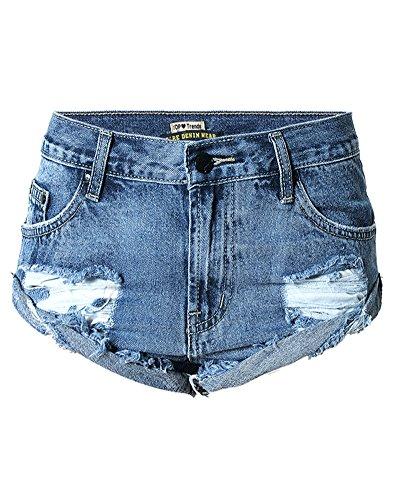 SaiDeng Donna Vintage Vita Alta Jeans Strappato Shorts Denim Pantaloncini Corti Blu Marino (Ragazzi Jean Shorts)