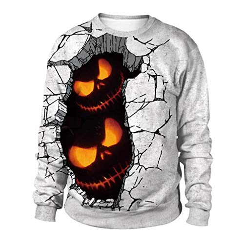 TIFIY Winter-Damen-lose Kostüme Halloween 3D Druck Horror Puppe Pullover Langarm-Sweatshirt Fashion Party Pumpkin Devil Tops(Weiß,EU-38/CN-L)