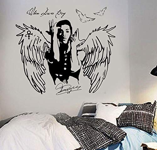 yiyitop Wandkunst Aufkleber Prinz Aufkleber Wenn Tauben Schreien Berühmtheit Pop-Sänger Wandaufkleber Für Teenager Zimmer Junge Mädchen Schlafzimmer Wandbild 58 * 66 cm