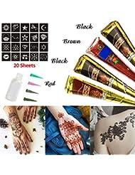 Skymore Temporäre Tattoo Kegel Kit, Tattoo Paste Kegel Conesl, Tattoo Sticker Körperkunst mit 20 Stücke Tattoo Schablone, 4 X Tattoo Kegel, 1 X Applicator Fles, 4 X Kunststoffdüse
