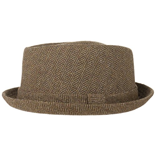 Lipodo Diamond Crown Herringbone Wollhut Damen/Herren | Pork Pie mit Wolle | Fedora mit Innenfutter | Stoffhut Sommer/Winter | Hut braun-beige M (56-57 cm) -