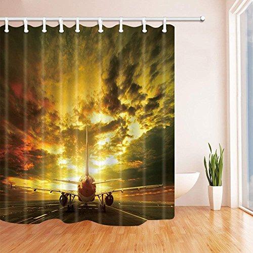 AdaCrazy Flugzeuge Abheben unter den dunklen Wolken Duschvorhang in Bad 71X71 Zoll Mildew beständiger Polyester Stoff Badezimmer Fantastische Dekorationen Bad Vorhänge Haken enthalten