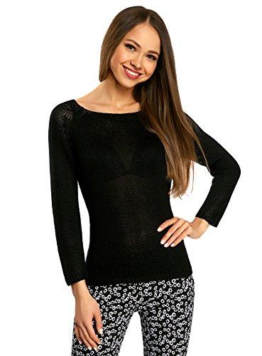 oodji Ultra Damen Pullover Basic mit Rundhalsausschnitt, Schwarz, DE 44 / EU 46 / XXL